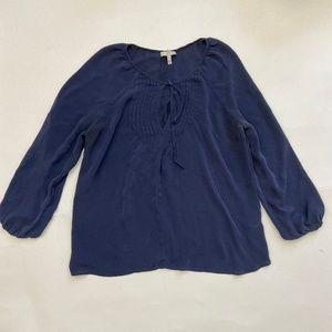 Joie Womens size S 100% silk Navy Blue Blouse